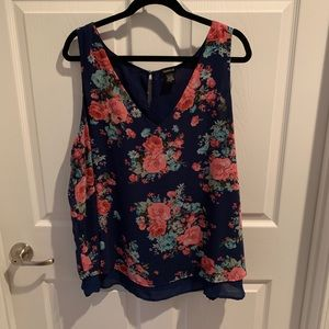Navy and Pink Floral VNeck Tank